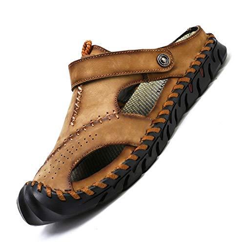 tqgold® Sandalen Herren Leder Clogs Sommer Outdoor Sport Geschlossen Hausschuhe Freizeit Pantoletten(Khaki,Größe43)