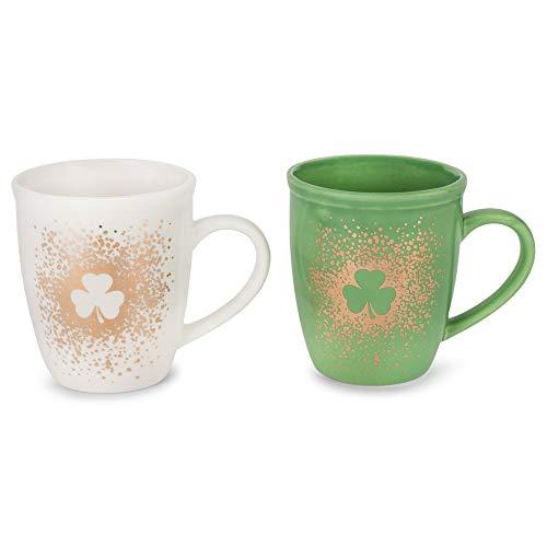 St. Patrick's Day Lucky Charm Green Goldtone Speckled Shamrock 10 Ounce Dolomite Coffee Mug Set 2