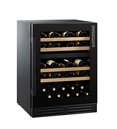 SWISSCAVE Black Edition WLB-160DF - Armario para botellas de vino (2 zonas, 47-55 Fl.)