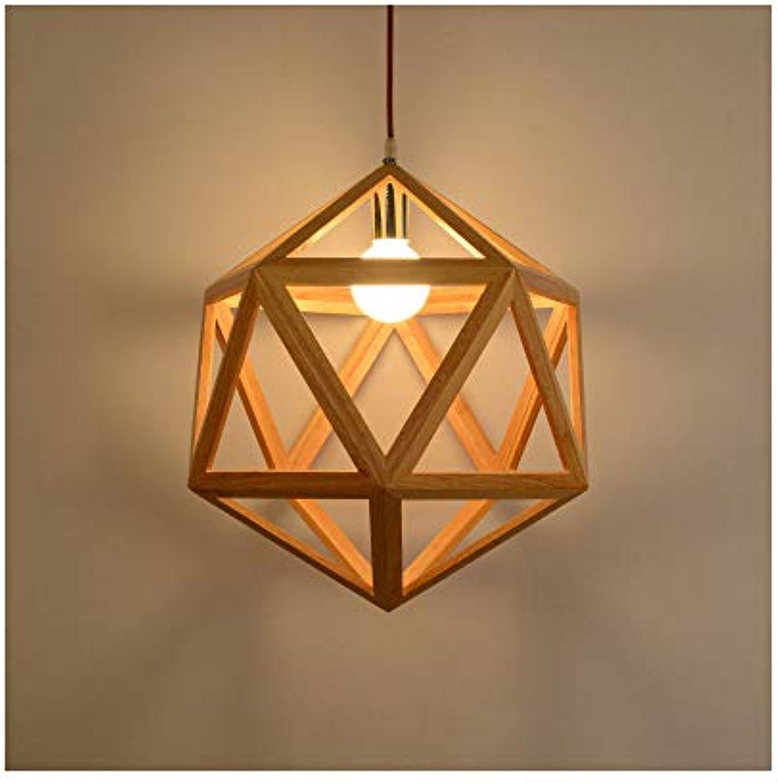 CX AMZ Hngende Deckenleuchten, Nordic Hollow Solid Wood Geometric Light, Wohnzimmer Schlafzimmer Holz Diamant Kronleuchter, einfache kreative Restaurant Lampe Hot Pot Shop Deckenleuchten Montage,A