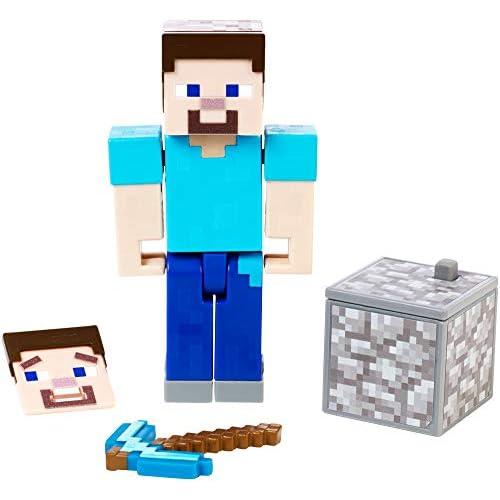 Minecraft- Personaggio Maker Steve da 8,25cm, app Comic Book Gratuita, Giocattolo per Bambini 6+ Anni, GCC13