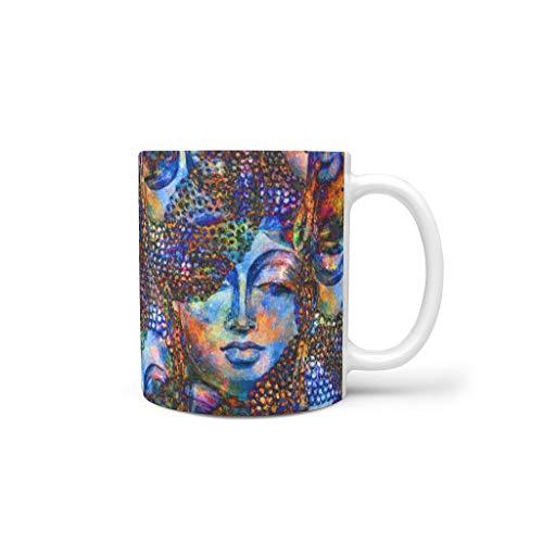 XHJQ88 Boeddha Gezicht Energie Indische Dranken Cappuccino Mok Beker met Handvat Glad Keramisch Retro Bekers - Meisje Geschenken, Pak voor Dorm gebruik (11 OZ.)