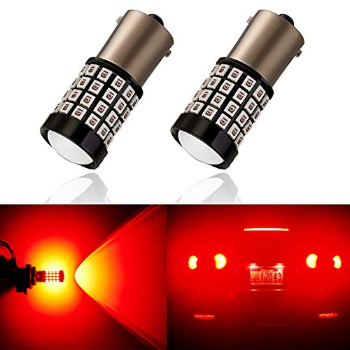 ANTLINE Newest 1156 LED Bulb Red (2 Pack), 9-30V Super Bright 1600 Lumens 1141 1003 7506 BA15S 52-SMD LED Lamps with Projector for Replacement, Work as Turn Signal Blinker Side Marker Lights