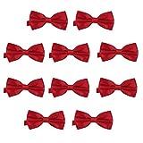 DonDon Set de 10 Pajarita para hombre de 12 x 6 cm ajustable y lista para usar - Rojo oscuro