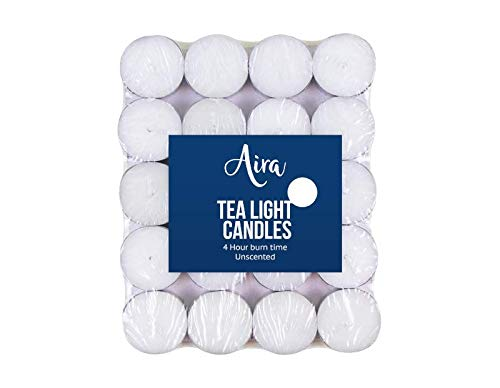 Z-ENTERPRISE: 40pk Tealight Candles | White Unscented Tealights | Night Light Candle with Long Hour Burning Time for Centrepieces, Weddings, Christmas, Spa and Home Decor