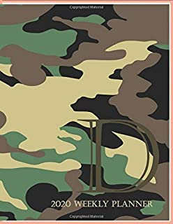 """2020 Weekly Planner D: This camouflage multi-Color Monogrammed """"D"""", 8.5"""" x 11"""" one page monthly, two page weekly with holi..."""