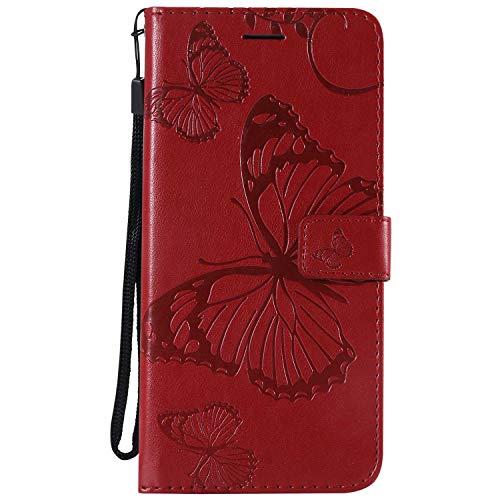 DENDICO Cover Galaxy J6 Plus, Pelle Portafoglio Custodia per Samsung Galaxy J6 Plus Custodia a Libro con Funzione di appoggio e Porta Carte di cRossoito, Modello di Farfalla - Rosso