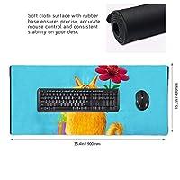 ねこ 花 マウスパッド ゲーミングマウスパット デスクマット キーボードパッド 滑り止め 高級感 耐久性が良い デスクマットメ キーボード パッド おしゃれ ゲーム用(90cm*40cm)