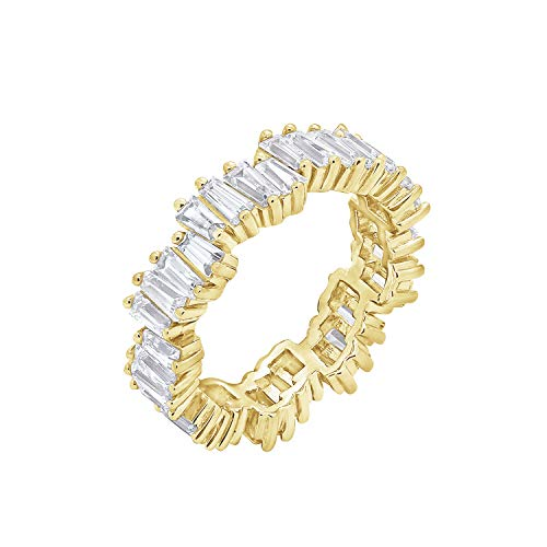 KIERA COUTURE White Baguette Cut Platinum Plated Sterling Silver Wavy Eternity Band Ring Size 6