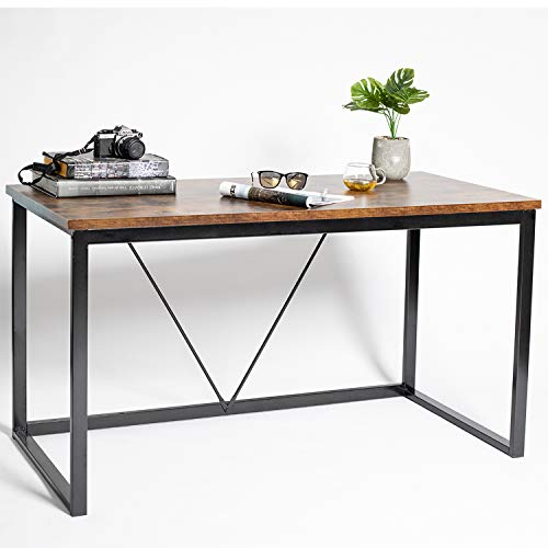 Lazyin Computer Desk Writing Desk 55 inch Industrial Wooden Style Vintage PC Laptop Table with 0.98