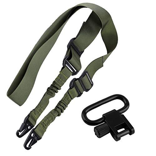 RimFly Correa Ajustable Verde + Riel Enganche para Airsoft y Rifle Pack 2 Táctica Point Sling 2 Puntos Multiusos Armas Cuerda Paintball Cinta de Sujeción Paracord Deportes Aire Libre