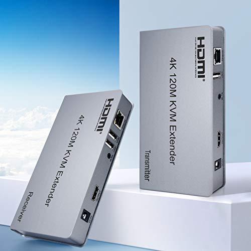 [Nuovo elencato,Prezzo preferenziale] KVM Extender HDMI Ippinkan Extender KVM HDMI 4k Supporto 4k 120m Trasmissione HDCP1.4 Estensore Switch KVM con Funzione IR su IP Estensore KVM Cat5 /Cat6 /Cat5e