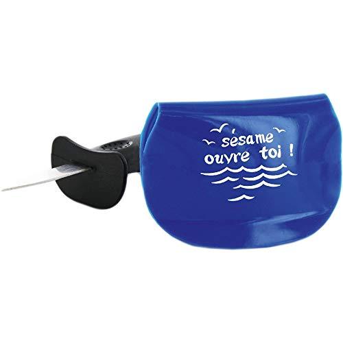 Saveur et Degustation KU6287 Couteau A HUITRES avec Support Silicone, INOX/PP, Bleu, 10,8 x 1 x 15 cm