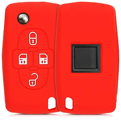 kwmobile Funda de Silicona Compatible con Peugeot Citroen Llave de Coche de 4 Botones - Carcasa Suave de Silicona - Case Mando de Auto Rojo