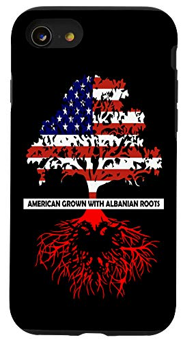 iPhone SE (2020) / 7 / 8 American Grown With Albanian Roots | USA Albania Flag Phone Case