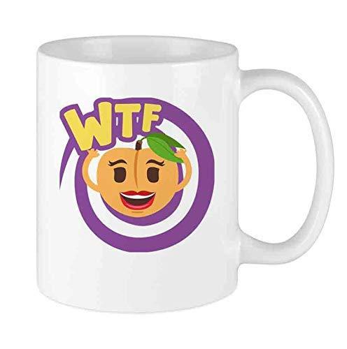 N\A Lustige Kaffeetasse Emoji Pfirsich WTF benutzerdefinierte Tasse einzigartige Keramik Neuheit Männer & Frauen, die Teetassen & Kaffeetasse 11oz lieben