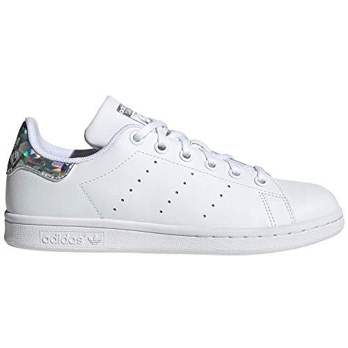 adidas Stan Smith para Mujer, Zapatillas Blancas de Moda. Tenis, Sneaker (38 EU, White Shiny Iridiscent)