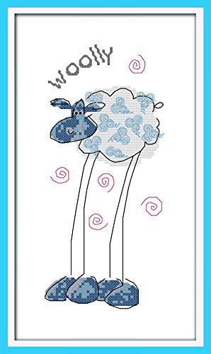 Kit de punto de cruz estampado, OWN4B patrón impreso gato 11CT 30 x 30 cm Kit de bordado (ovejas)