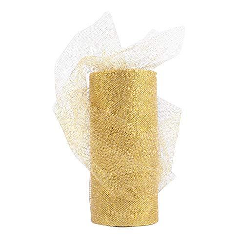 Rollo 22,5 metro Cinta Tela Tul Tulle Dorado con Purpurina Ancho 15cm Decoración Hogar Boda Navidad Novia Fiesta Manualidades DIY Envolver Regalos Tutú Falda