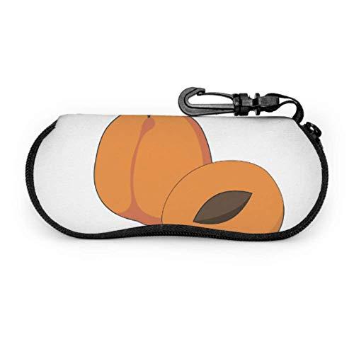 Estuche para gafas Carcasas de gafas de albaricoque dibujos animados frutas mujeres gafas caso suave con cremallera neopreno gafas de sol bolsa protectora bolsa bolsa