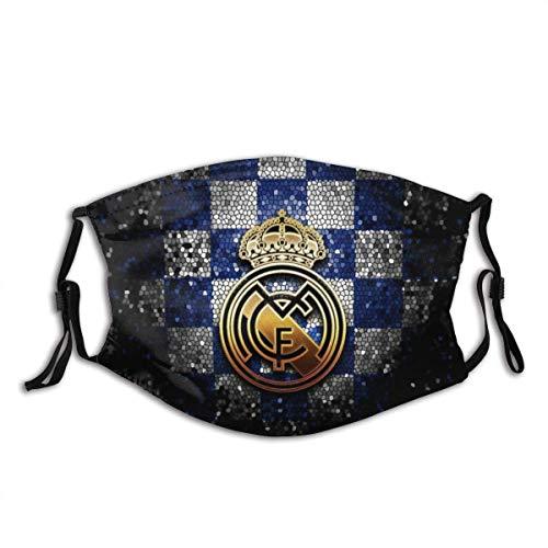 GABRI Mundschutz Gesichtsschutz Real Madrid Fußballmannschaft Logo 8 Antistaub Waschbar und Wiederverwendbar Bandana mit Filtern