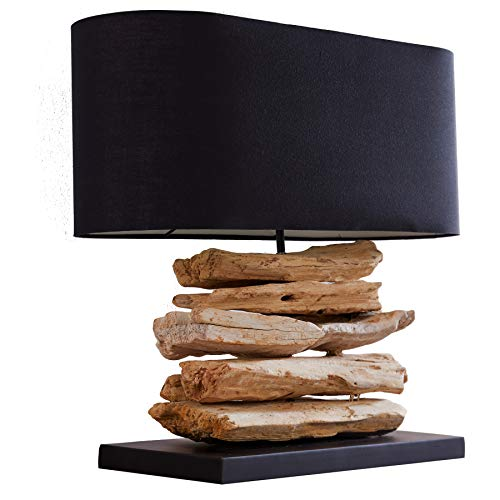 Design Treibholz Lampe RIVERINE Tischleuchte mit schwarzem Schirm Handarbeit