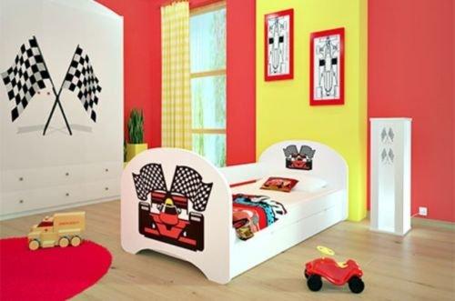 naka24 NEU Kinderbett mit 2 Liegeflächen und 2 Matratzen - für Mädchen und Jungen (180x90 cm, Ferrari)
