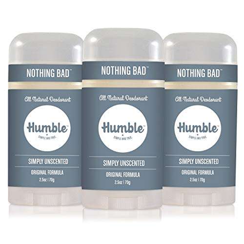 Humble Brands All Natural Aluminum Free Deodorant Stick for Women and Men, Lasts All Day, Safe, and Certified Cruelty Free, Simply Unscented, Pack of 3