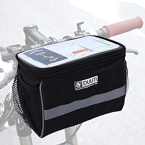 ALIXIN-Fahrradtasche mit Touchscreen-Handyhalterung, wasserdicht,für Lenker und GPS-Halterung und Aufbewahrungstasche mit transparentem TPU-Bildschirm für Tablet oder Handy.Fahrrad-Rahmentasche.