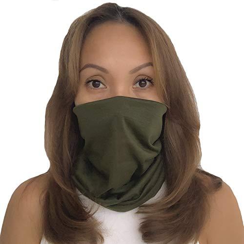 AGLAGAN Neck Gaiter Mask Unisex Scarf Reusable Cover Balaclava Protection Bandanas UV Green