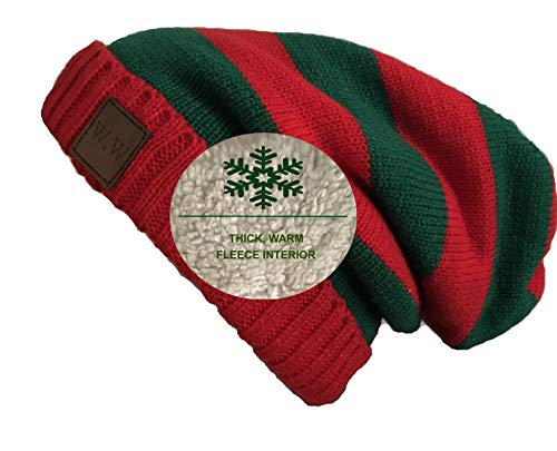W.W Christmas Beanie Hat for Men and Women Holiday Edition Slouchy Hat Fur Lined Cable Knit Skully Red and Green Unisex