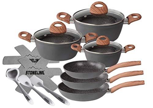 STONELINE® Back to Nature 14tlg. Kochgeschirr-Set, inkl. Küchenhelfer und Pfannenschutz
