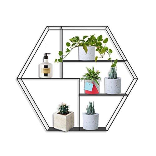 [AJ] Blumenregal Regal für sechseckig, Regal aus Metall, Regal aus Metall, Blumenregal, Wandregal, Montage von Pflanzen, Blumentöpfe für Garten, 52 x 10 x 45 cm