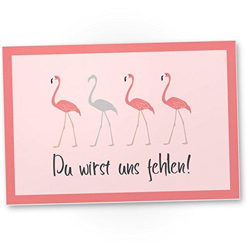 Du wirst uns fehlen (Flamingos) - Kunststoff Schild Abschiedskarte Jobwechsel, Geschenkidee Abschiedsgeschenk Kollegen, Geschenk Verabschiedung von Kollege - Chef, Abschied Arbeitskollege im Büro