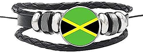 ZGYFJCH Co.,ltd Collar de Moda Bandera de la nación Pulsera Botones de cúpula de Cristal Canadá EE. UU. México Jamaica Salvador Pulsera de Cuerda de Cuero Joyería