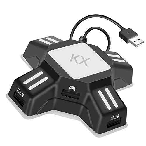 Keyboard Mouse Adapter, Portable Mouse Keyboard Converter Adapter for PS4/Switch/Xbox One/PS3, KX Gamepad Controller Adapter Plug and Play, USB Gaming Mouse Keyboard Converter