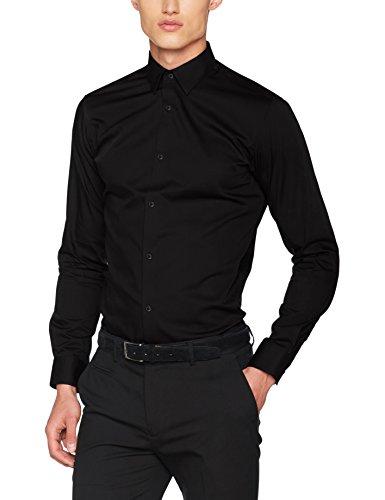 JACK & JONES Herren JPRNON Iron Shirt L/S NOOS Businesshemd, Schwarz (Black Fit:Slim Fit), Medium