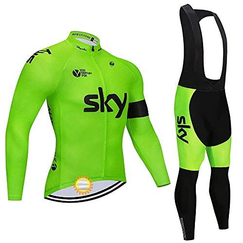 Tuta Abbigliamento Ciclismo Uomo Manica Lunga, Maglia Ciclismo Elasticizzato Invernale Termico con Pantaloni MTB per Ciclista di Bici da Strada