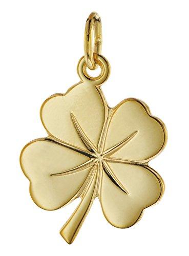 trendor Glücksanhänger Kleeblatt 585 Gold 18 mm eleganter Halsschmuck aus hochwertigem Echtgold für Damen, zauberhafte Geschenkidee für modische Frauen, 08608