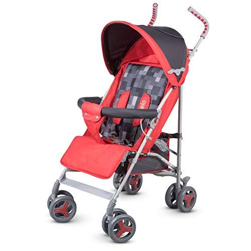 Lionelo Elia Buggy klein zusammenklappbar Kinderwagen, ab 6 Monaten bis 15 kg belastbar, Moskitonetz, Fußdecke, Regenschutz (Rot)