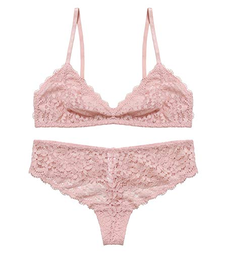 Awake Lingerie Selected Bralette Pizzo e Slip, Soft Lace Reggiseno Triangolo Floreale Senza Ferretto Non Imbottito, Biancheria Intima Sexy Donna (X-Large, Pink Lover)