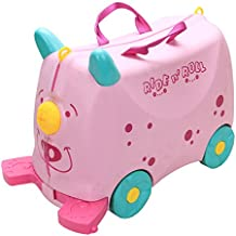 COLOR TREE Kid's Ride On Roll Suitcase Travel Luggage & Storage Bag,Carry-On Luggage Stroller,Pink