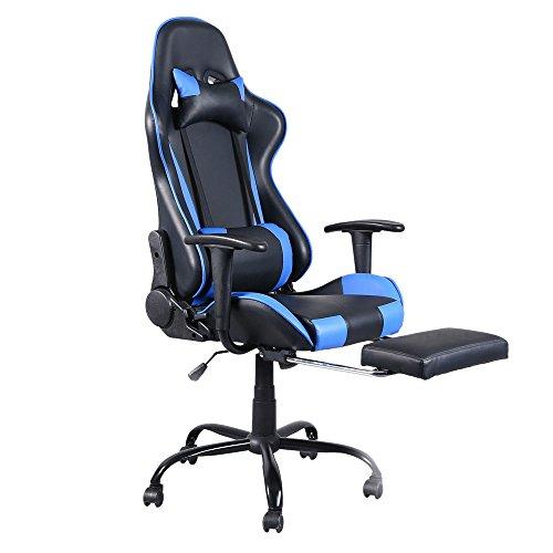 Gaming Stuhl Ergonomischer Büro Lehnstuhl, Racing Stil Sessel PU-Leder-E-Sport-Gamer Stühle mit Ausziehbarem Fußraste (Blau)