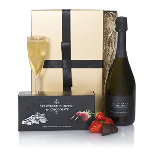 Prosecco Indulgence Hamper - Strawberries Dipped Chocolates & Prosecco Hampers - Xmas Gift Idea for Him or for Her - Perfect Gift Idea for a Birthday Present or Thank You Gift