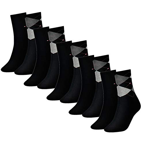 Tommy Hilfiger Damen Socken, Check Sock, Strümpfe, Rauten, Vorteilspack, Vorteilspack (Schwarz, 39-42 (10 Paar))