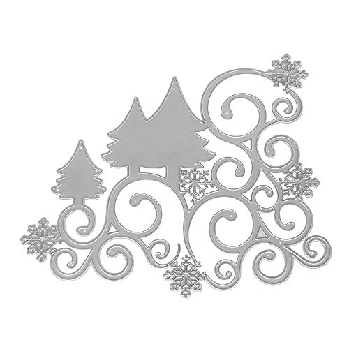 Metal Die Cuts Christmas Trees Lace Vine Border Embossing Stencil Cutting Dies for Card Making Scrapbooking Paper Craft Album Stamps DIY Décor