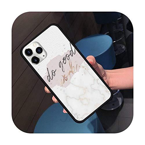 letra de mármol moda arte teléfono caso para iPhone 11 12 pro XS MAX 8 7 6 6S Plus X 5S SE 2020 XR silicona suave a2-iPhoneXR