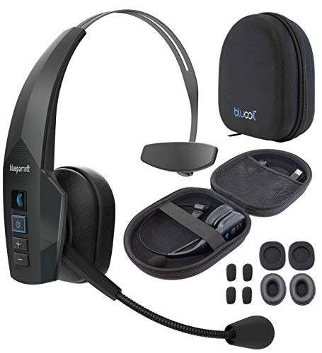 BlueParrott B350-XT BPB-35020 Noise Canceling Bluetooth Headset with 300-FT Wireless Range for iOS and Android Bundle with Blucoil Headphones Carrying Case, and Replacement Ear Pads