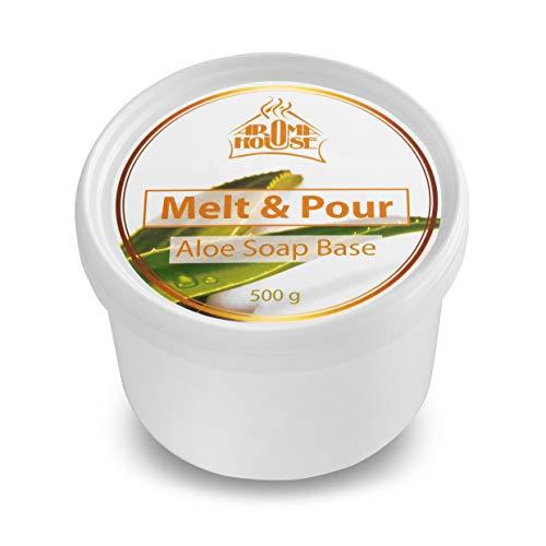Seifenbasis mit Aloe Vera 500 g - Seifenbase Melt & Pour - Natürliche & Feuchtigkeitsspendende Handseife - Erwachsene & Babypflege - für Handgemacht - Glycerin-Seife mit Aloe Vera