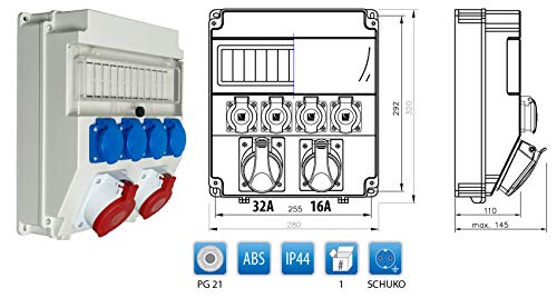 Baustromverteiler/Wandverteiler 1 x CEE16A/400V + 1 x CEE32A/400V + 4 x 230V/16A verdrahtet